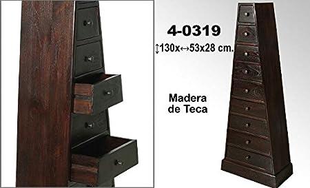 DonRegaloWeb - Mesa cajonera con forma de pirámide de madera de teca con 9 cajones decorada en color nogal
