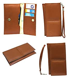 Jo Jo A5 G12 Leather Wallet Universal Pouch Cover Case For Lava A52  Tan