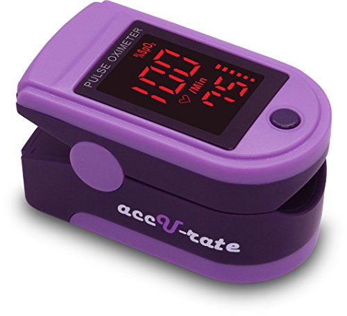 CMS 500DL Generation 2 Fingertip Pulse Oximeter Blood Oxygen Saturation Monitor with silicon cover, batteries and lanyard (Royal Purple)