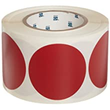"Brady 55338 3"" Diameter, B-933 Vinyl Tape, Red Vinyl Aisle Marking Dots (Pack Of 500)"