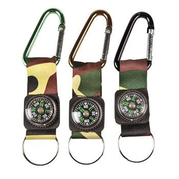Camouflage Army Belt Clip Compass Key Chains (1 Dozen) - Bulk front-1067534