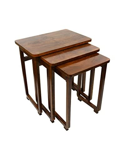 Uptown Down Previously Owned 3-Piece Wood Nesting Side Table Set