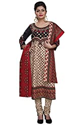85a751f6f5 Rajnandini womens cotton Printed Unstitched salwar suit Dress Material  (Black _Free Size)