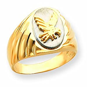 14k Two-Tone Grooved Polished Eagle on Top Men's Ring