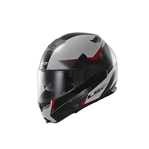 LS2 FF393.2 Hawk Flip Front Motorcycle Helmet M White Black Red