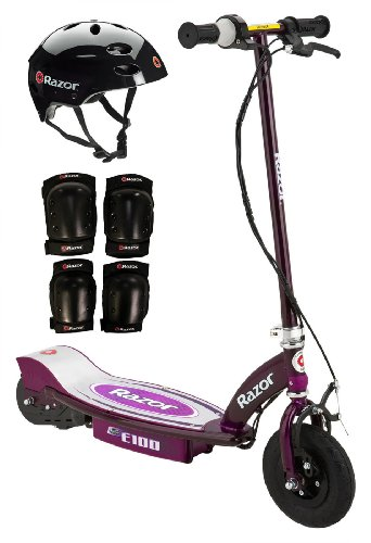 Razor E100 Electric Scooter With Youth Sport Helmet And Pads (Purple)
