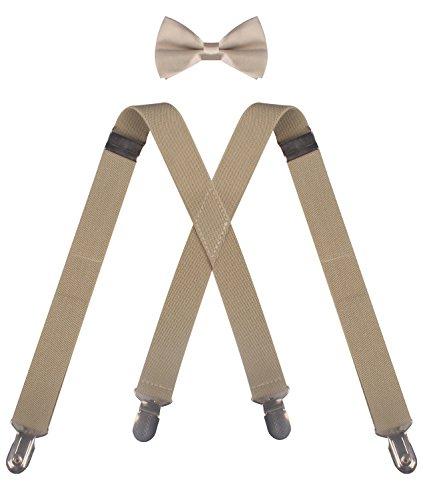 CEAJOO khaki suspenders khaki bowtie khaki bow tie suspenders and bow ties men (46 inches to 50 inches) Khaki (Bow Ties Khaki compare prices)