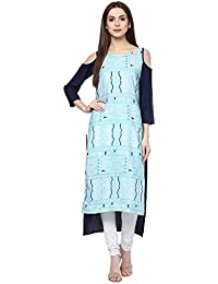 Ziyaa Casual Wear Blue Colour Cold Shoulder Digital Print Crepe Kurti