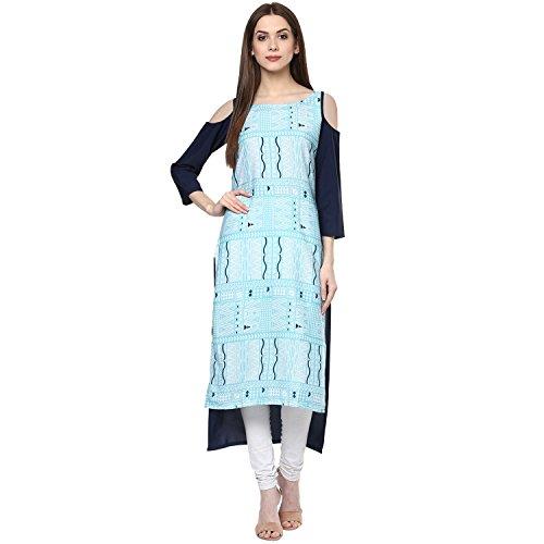 Ziyaa Casual Wear Blue Colour Cold Shoulder Digital Print Crepe Kurti