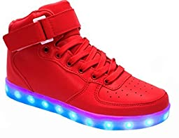 ERupt Women Men Lace Up Lightweight USB Charging LED Sneakers Light up Shoes Red