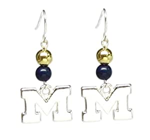 Michigan Wolverines Beaded Wire Logo Earring NCAA College Athletics by Seasons Jewelry