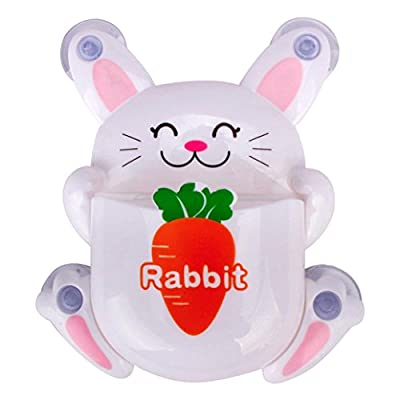 AMA (TM) Novelty Cute Rabbit Toothbrush Toothpaste Holder Storage Family Kitchen Bathroom Wall Hanger Sucker Cup Bathroom Set