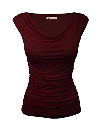 Me and Young Sleeveless Cowl Neck T-shirt Jersey Tops Ruched Blouse BURGUNDY S (Cowl Shirt compare prices)