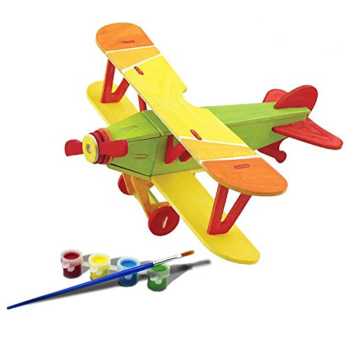 Bfun Woodcraft 3D Puzzle Assemble and Paint DIY Toy Kit, Biplane (Toy Plane Build compare prices)