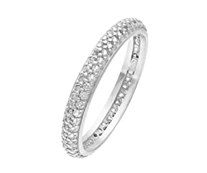 Elegano Tulip Rhodium Plated Silver Double Row Clear Cubic Zirconia Full Eternity Ring- Size L