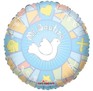 "Spanish Baptism Mylar Balloons Blue Dove 18"" (3 ct) by Kaleidoscope - 1"