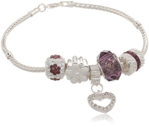 Silver Plate Crystal Beaded Charm Bracelet Set