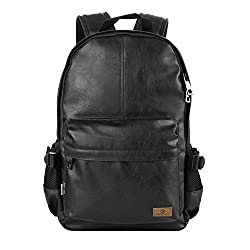 Koolertron Classic Casual PU Leather Vintage Fashion Unisex School Student Laptop Backpack For Camping Travel Fits Acer Aspire MacBook iPhone iPad and Samsung Tablet