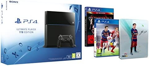 Pack PlayStation 4 1To + Fifa 16 + Steelbook FIFA 16 exclusif + Metal Gear Solid V : The Phantom Pain [import allemand]