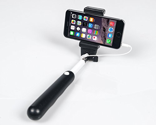selfie stick iphone android no bluetooth no charging or battery high quality wired. Black Bedroom Furniture Sets. Home Design Ideas