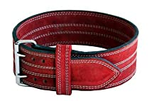 "Leather Power Weight Lifting Belt- 4"" Red (X Large 38-46"")"