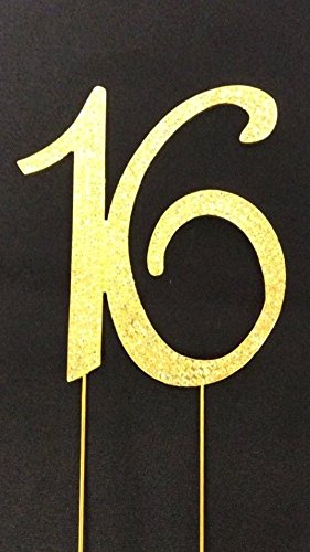 Sweet 16 Birthday Number Cake Topper Sparkling Rhinestones With Gold