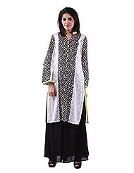 AARR Plazo Set/cotton Black & White Full Sleeves Kurta For Women
