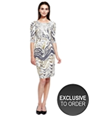 Autograph Abstract Print Pleated Dress