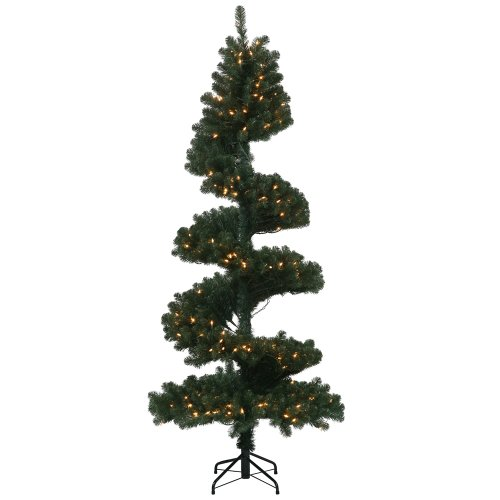 Pre Lit Christmas Tree Fuses: 7′ Pre-Lit Sprial Pine Artificial Christmas Tree