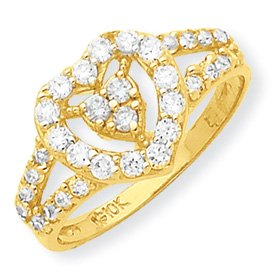 Genuine IceCarats Designer Jewelry Gift 10K Cz Heart Ring Size 6.00