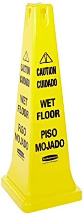 Rubbermaid Commercial Four-Sided Caution, Wet Floor Yellow Safety Cone, 12-1/4 x 12-1/4 x 36 (6276-77)