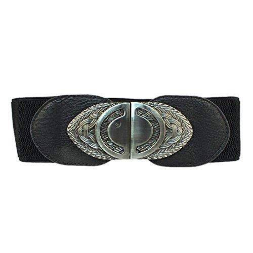 Women Vintage Retro Wide Elastic Oval Buckle Dress Cinch Waistband Waist Belt