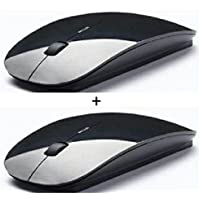 DIZIBLUE M100 Pack Of 2 Ultra Slim Wireless Mouse 2.4ghz Nano Receiver For Pc Laptops Windows Mac
