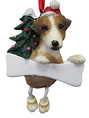"""Jack Russell Ornament with Unique """"Dangling Legs"""" Hand Painted and Easily Personalized Christmas Ornament"""