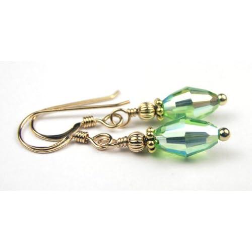 Damali 14K Gold August PERIDOT Swarovski Crystal Elements Earrings   1 Inch