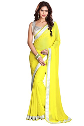 Sourbh Sarees Women's Yellow Faux Georgette Saree with Unstitched Blouse Piece