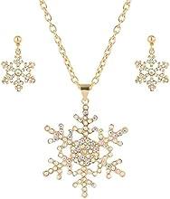 EVER FAITH® - Cristal Austriaco Copo de Nieve Firesta Collar Pendientes Set