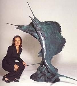 "Monumental Solid Bronze Double Marlin Swordfish Fountain 80""H"