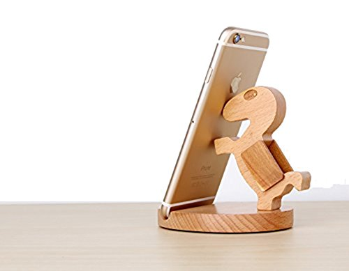 SoftFloat Creative Cute Natural Wooden cell Phone Stand/ Holder For Iphone Ipad Samsung Phone Tablet Plate PC