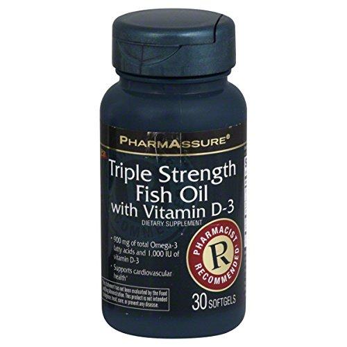 Pharmassure fish oil with vitamin d 3 triple strength for Fish oil vitamin d