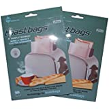 """Toastabags Reusable Non-stick Sandwich/snack """"In Toaster"""" Grilling Bags, 4 Pack"""