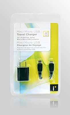 Mizco USB Wall Charger with Mini and Micro USB Cables - Retail Packaging - Black