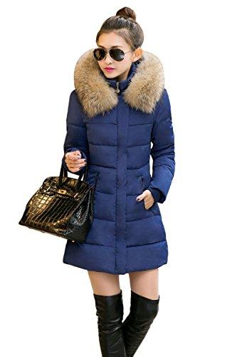 YMING Donna Giacca con Cappuccio Cappotto Parka d'inverno Blu XS