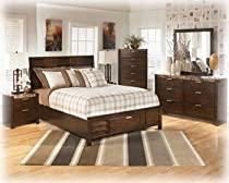 Hot Sale Ashley Nowata Contemporary Queen Size Bedroom Set in rich Okoume veneers