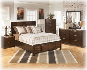 Beautiful Ashley Nowata Contemporary Queen Size Bedroom Set in rich Okoume veneers