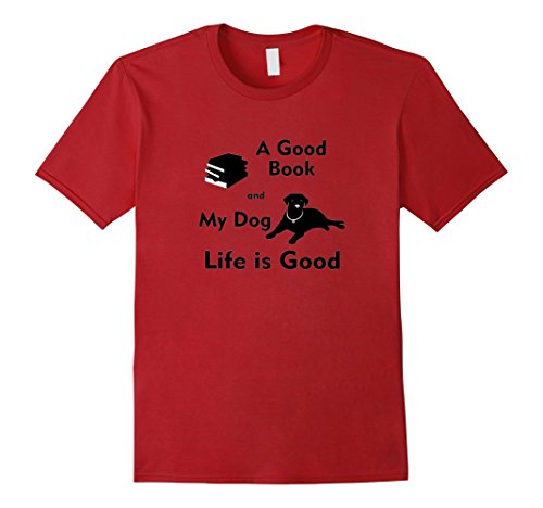 Men's Life is good mens & womens tshirts - A Good Book And My Dog 3XL Cranberry (Life Is Good 3x compare prices)