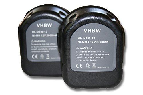 vhbw 2x Batteria Ni-MH 2000mAh (12V) per DW9074 Dewalt DE9071, Rems Pressmaschinen sostituisce Dewalt DC9071, DE9037, DE9071, DE9074.