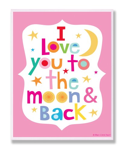 The Kids Room by Stupell I Love You to the Moon and Back on Pink Background Rectangle Wall Plaque