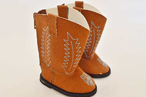 BROWN SUEDE WESTERN BOOT FOR AMERICAN GIRL DOLLS - 1