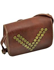 Artisan Crafted Leather Look Handbag With Metal Buttons Rivets And Adjustable Cross Shoulder Sling Strap (Brown...